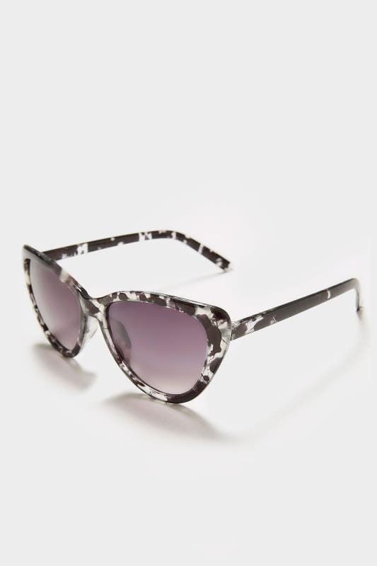 Clear & Black Inked Cat Eye Sunglasses With UV Protection