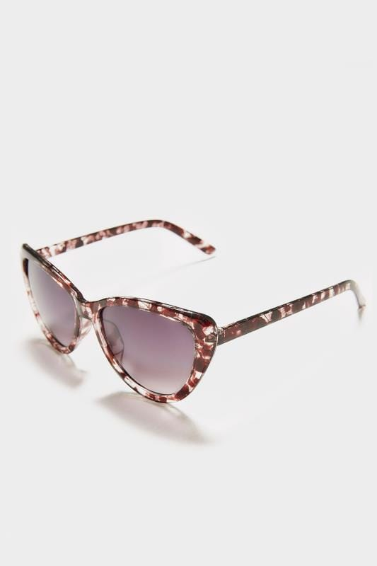 Clear & Brown Cat Eye Sunglasses With UV Protection