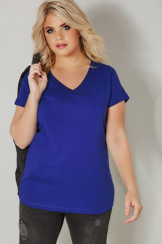 Plus Size Basic T-Shirts & Vests Cobalt Blue Basic V-Neck T-Shirt