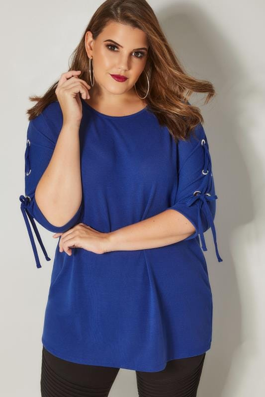 Plus Size Day Tops Cobalt Blue Batwing Top With Eyelet Lace Sleeves