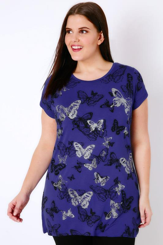Cobalt Blue Butterfly Print T-Shirt With Foil Detail