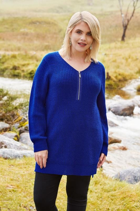 Plus Size Jumpers Cobalt Blue Chunky Knit Zip Front Jumper