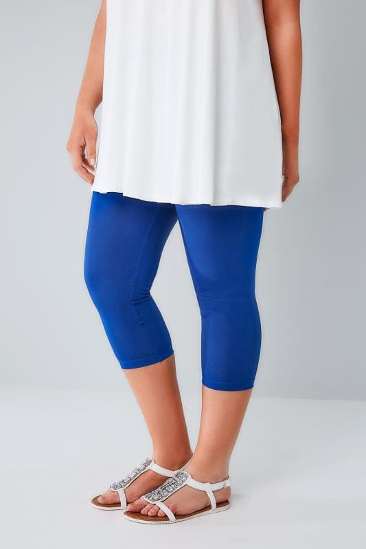 Cobalt Blue Cotton Elastane Cropped Leggings