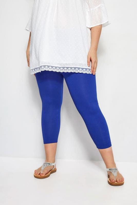 Plus Size Cropped & Short Leggings Cobalt Blue Cropped Leggings