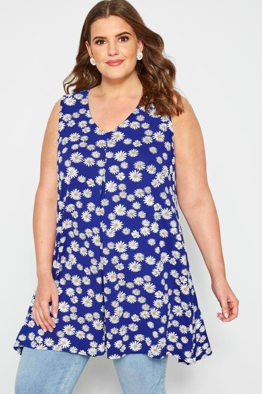 Cobalt Blue Daisy Print Swing Top