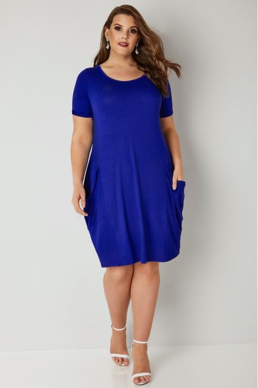 Cobalt Blue Drape Pocket Jersey Dress