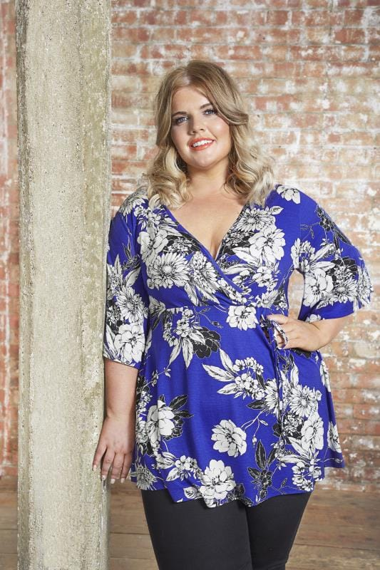Plus Size Blouses & Shirts Cobalt Blue Floral Wrap Top
