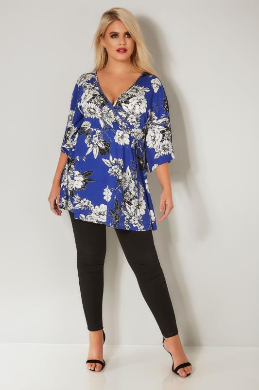 Cobalt Blue Floral Wrap Top