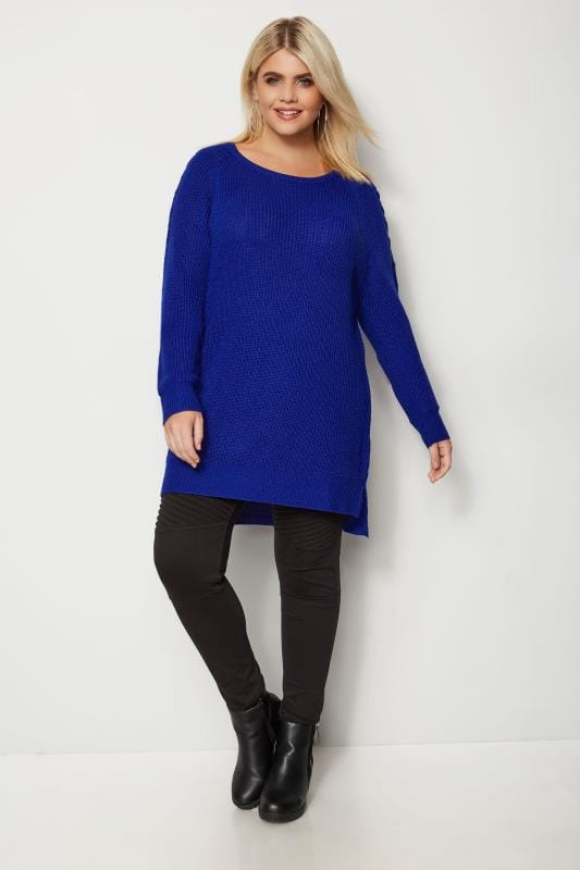 Plus Size Sweaters Cobalt Blue Knitted Jumper With Lattice Shoulders