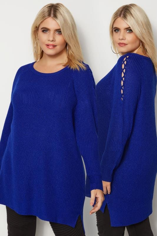 Plus Size Jumpers Cobalt Blue Knitted Jumper With Lattice Shoulders