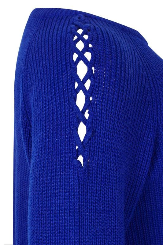Cobalt Blue Knitted Jumper With Lattice Shoulders