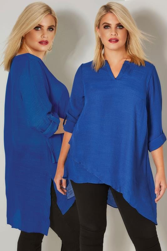 Plus Size Blouses Cobalt Blue Layered Blouse With Notch Neck & Dipped Hem