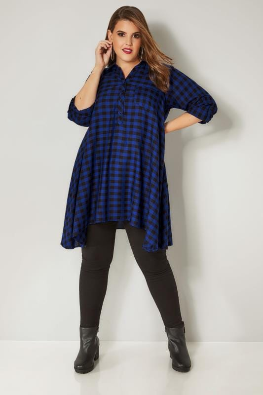 Cobalt Blue Longline Check Shirt With Hanky Hem