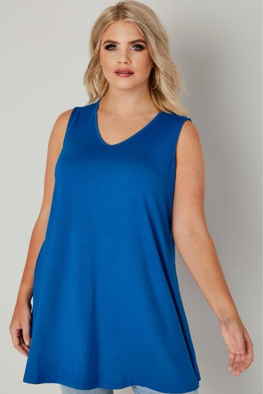 Plus Size Longline Tops Cobalt Blue Longline Swing Top