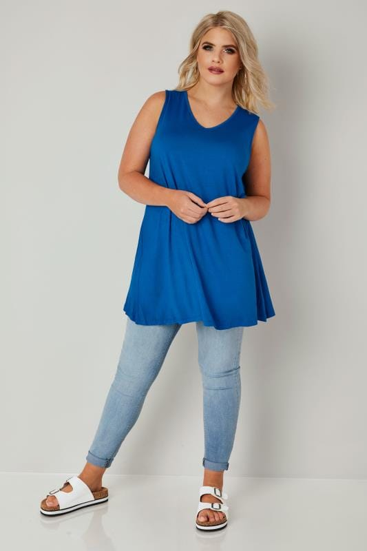 Cobalt Blue Longline Swing Top