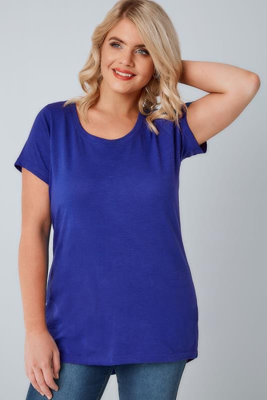 Plus Size Day Tops Cobalt Blue Scoop Neck T-Shirt With Curved Hem