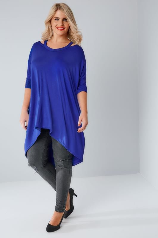Cobalt Blue Split Neck Top With Extreme Dipped Hem