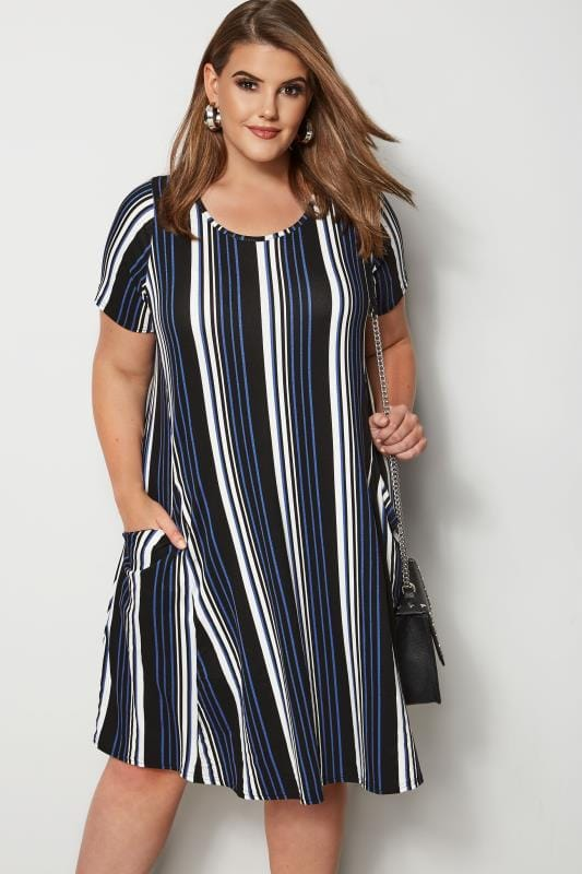 Plus Size Midi Dresses Cobalt Blue Striped Drape Pocket Dress
