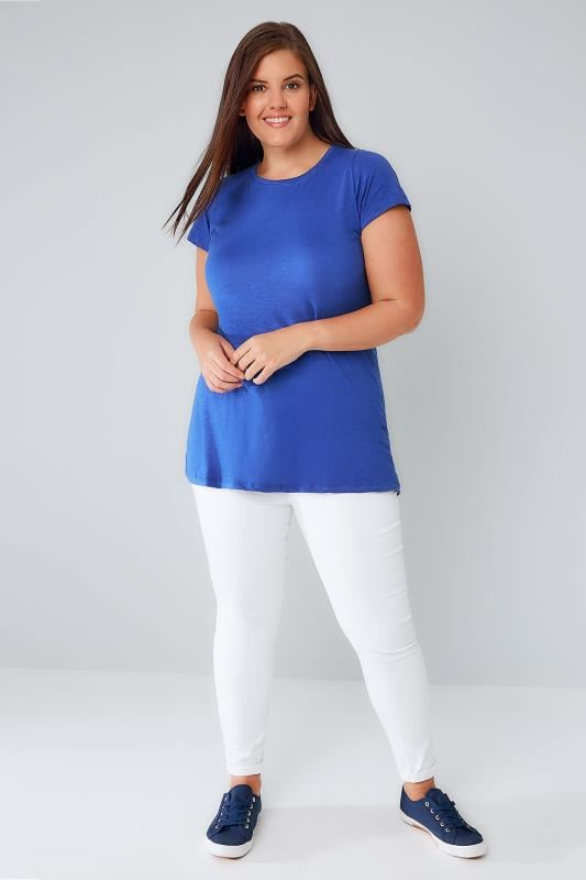 Cobalt Blue T-Shirt With Curved Hem