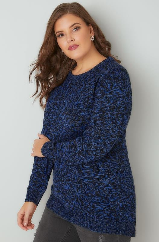 Cobalt Blue Textured Jumper With Dipped Hem