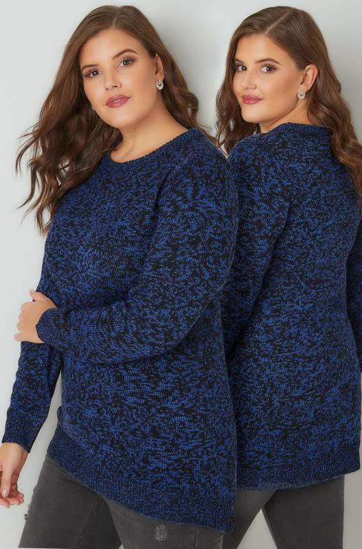 Jumpers Cobalt Blue Textured Jumper With Dipped Hem 101642