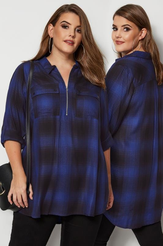 Plus Size Shirts Cobalt Blue Zip Through Check Shirt