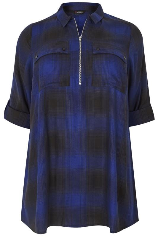 Plus Size Shirts Cobalt Blue Zip Through Checked Shirt