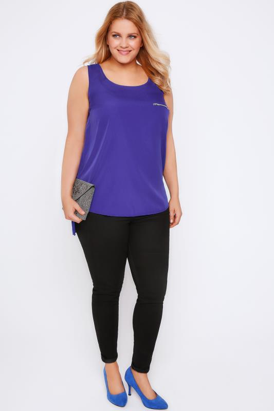 Cobalt Sleeveless Dipped Hem Top With Zip Pocket Detail