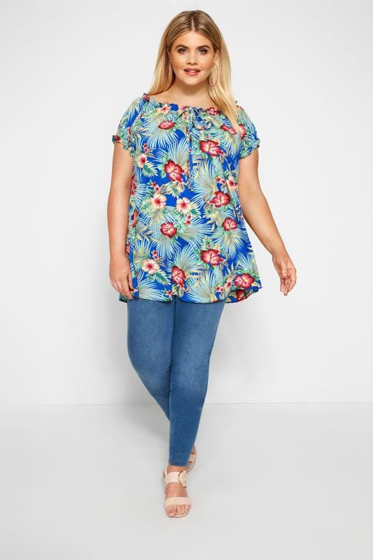 Cobalt Tropical Print Gypsy Top