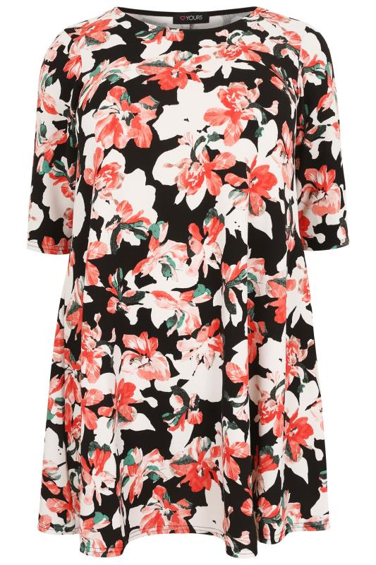 Coral And Black Floral Textured Swing Dress With Half Sleeves