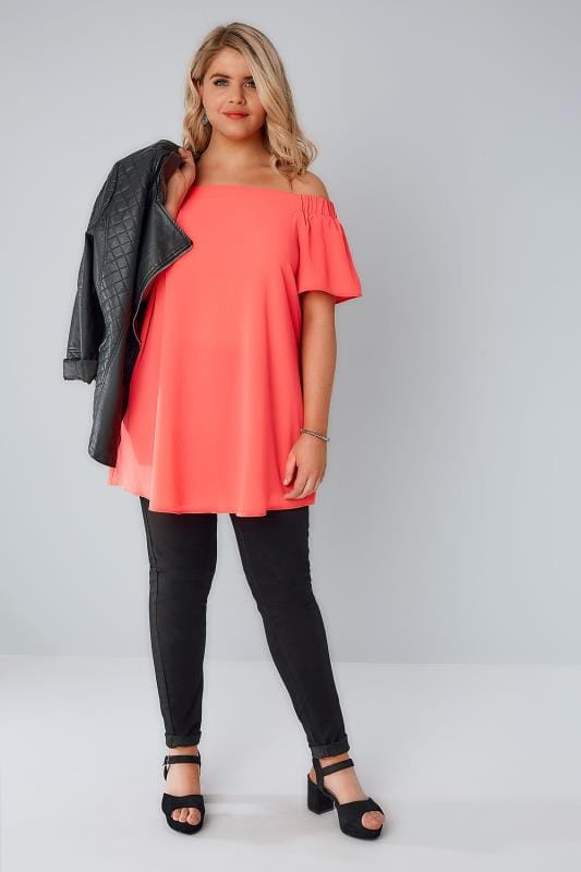 Coral Bardot Swing Top With Elasticated Shoulders