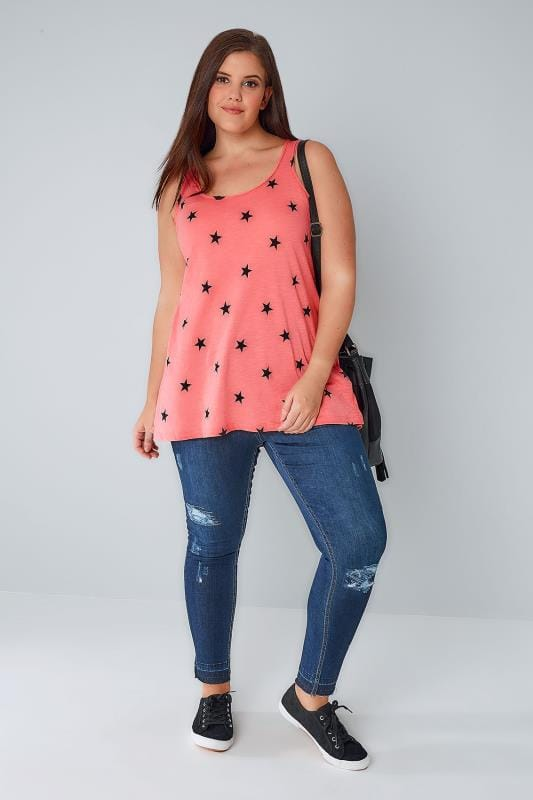 Coral & Black Star Print Swing Vest Top