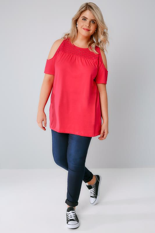 Coral Cold Shoulder Jersey Top With Lace Yoke