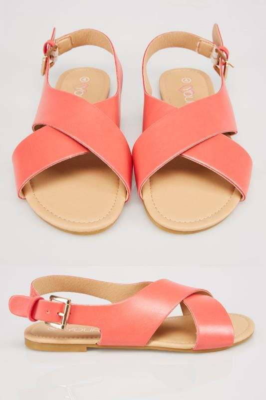 Coral Cross Over Flat Sling Back Sandals With Gold Buckle In EEE Fit