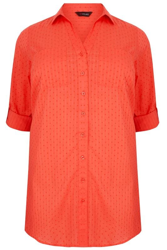 Coral Dobby Textured Shirt With Tie Fastening