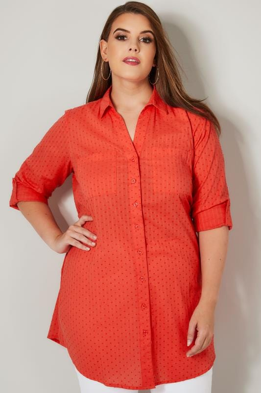 Plus Size Shirts Coral Dobby Textured Shirt With Tie Fastening