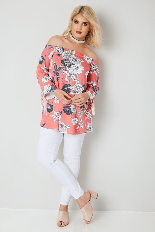 Coral Floral Bardot Top With Tie Sleeves