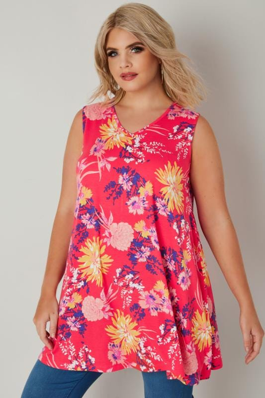 Plus Size Vests & Camis Coral Floral Print Sleeveless Top