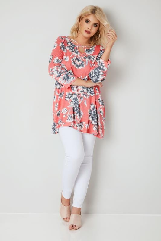 Coral Floral T-Shirt With Front Cross Over Straps