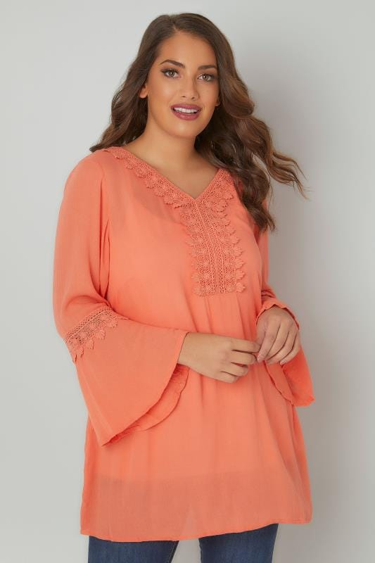 Coral Flute Sleeve Longline Blouse With Crochet Detail