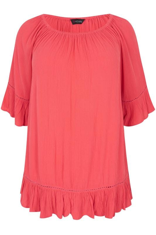 Plus Size Day Tops Coral Gypsy Bardot Top