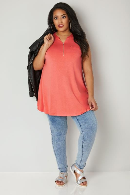 Coral Jersey Top With Zip Front