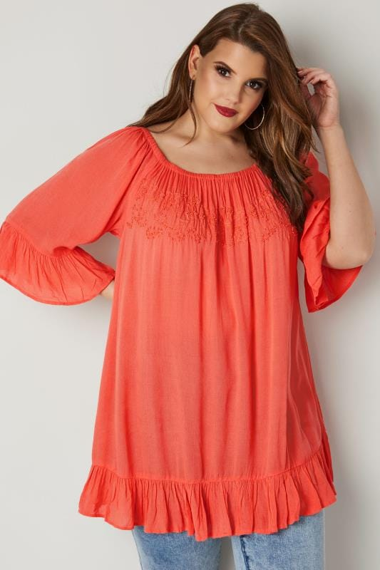 Plus Size Day Tops Coral Orange Bardot Gypsy Top With Beaded Details & Flute Sleeves