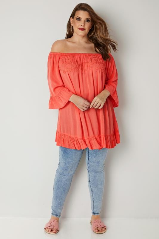 Coral Orange Bardot Gypsy Top With Beaded Details & Flute Sleeves