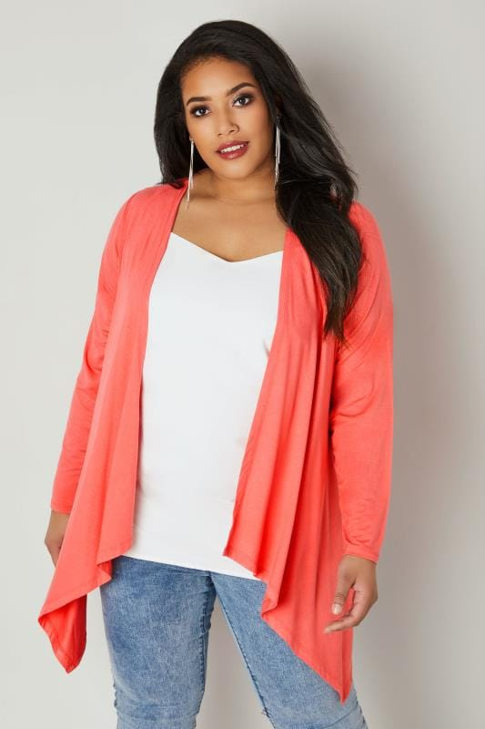Plus Size Cardigans Coral Pink Edge To Edge Waterfall Jersey Cardigan