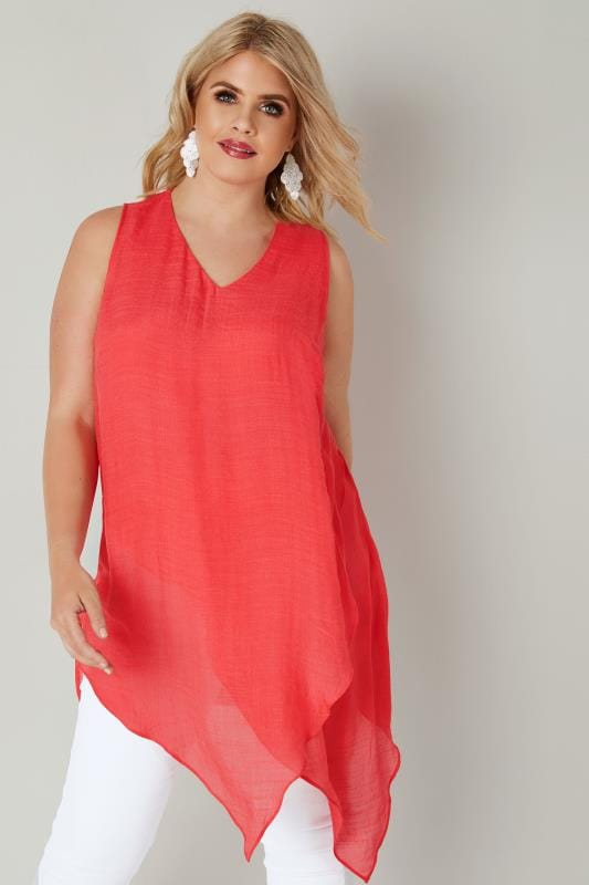 Plus Size Vests & Camis Coral Pink Sleeveless Layered Top With Asymmetric Front