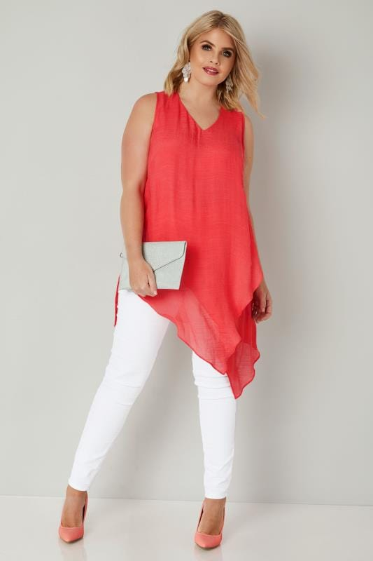 Coral Pink Sleeveless Layered Top With Asymmetric Front