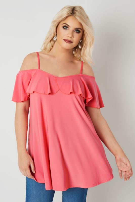 Plus Size Jersey Tops Coral Pink Slinky Jersey Frill Cold Shoulder Top
