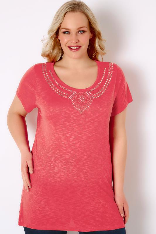 Coral Pink Textured Jersey Top With Jewel Embellishment