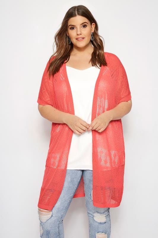bf31cc3eef Plus Size Cardigans Coral Pointelle Knit Cardigan